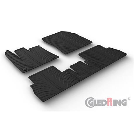 Gummi-Fußmatten für Citroen Berlingo/Opel Combo Life/Peugeot Rifter ab 8/2018 (Beifahrersitz umklappbar und runde Befestigungs-Clips)