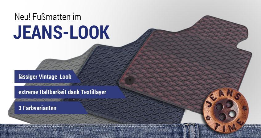 Gummimatten im Jeans-Look blau, rot und grau